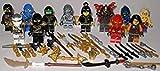 Lego Ninjago Figuren 12 unterschiedliche Ninjas und Schurken mit Zubehör Waffen ( Lloyd Kai Zane Jay NYA Ming Geist Krait und Weitere ) und bmg2000 Aufkleber