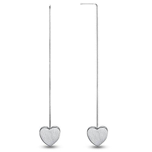 Sweetiee donna orecchini in argento 925 a filo trafilatura con cuore , 90 mm