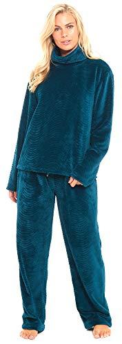 8cc54dc4d6 Slumber Hut® Ladies Fleece Pyjamas Cowl Roll Neck Loungewear Twosie Womens  Pajamas PJs - Teal