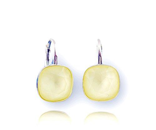 Crystals & Stones *Viele Farben* Silber 925 *SQUARE* - Ohrringe mit Kristallen von Swarovski® - Schön Ohrringe Damen Ohrhänger - Wunderbare Ohrringe mit Schmuckbox (Powder Yellow)