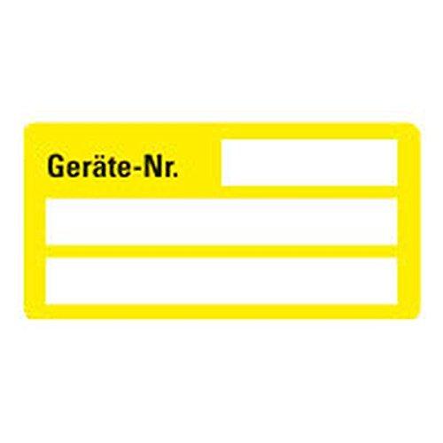 LEMAX® Inventaretikett Geräte-Nr.,gelb,Dokumentenfolie,m.Spezialkleber,50x25mm,9/Bogen
