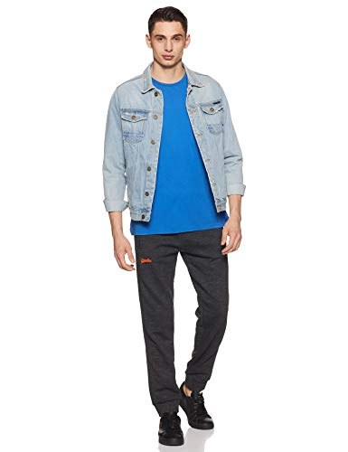 Best superdry backpack in India 2020 Superdry Men's Relaxed Fit Joggers (M70101AT_Black Carbon Feeder_L) Image 6
