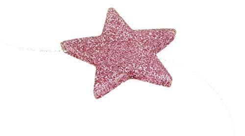 Packung von 3-2 Meter Baby Pink/Blush Pink Glitter Sterne Garland - Weihnachtsdeko Garland Blush