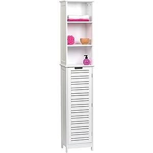 Tendance Armario Alto Miami con Estructura Color Blanco + 1 Puerta + 3 estantes de MDF, Madera, White, 35x26x173 cm