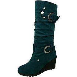 Botas Mujeres Invierno Zapato Plano Redondo Dedo del pie Espesor cuñas señoras Tubo Largo Ankle Botas Zapatos Mujer Otoño Invierno Botas de Plataforma Zapatos de tacón Botines Zapatos Interiores