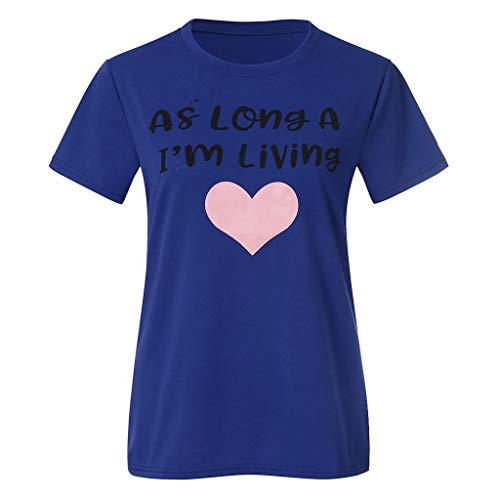 xmansky Damen top, Freizeit Mutter und Tochter Kleidung drucken Kurzarm T-Shirts Tops Bluse,Geeignet für Party, Täglich, Strand (As Long A I'm ()