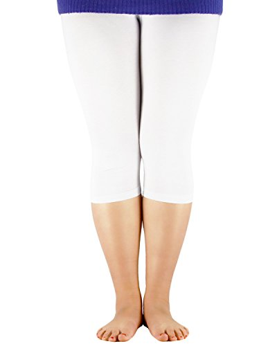 Azue Frauen Groß Größe Capri Leggins für Damen Übergröße Bambus Faser 3/4 Modal Hose Basic Legging Mehrfarbig Gamaschen Weiß XL (Etikettgröße: 3XL) (Capri-hosen-kleider)