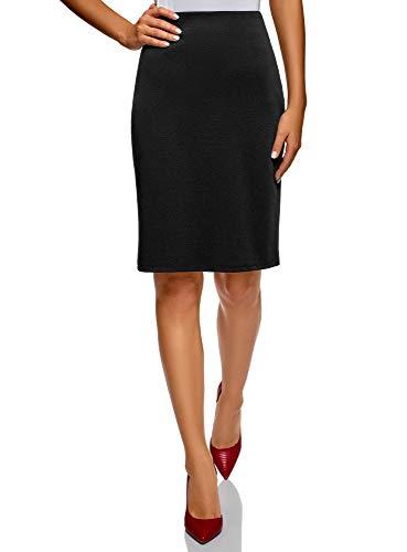 oodji Collection Mujer Falda Recta Básica, Negro, ES 44 / XL