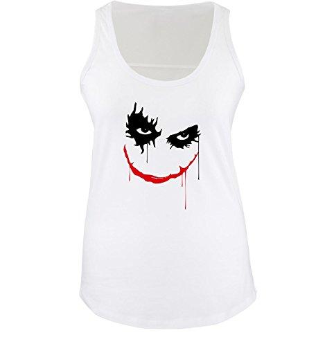 Heath Ledger - THE JOKER - Damen Tank Top Shirt Weiss / Schwarz-Rot Gr. XL (Heath Ledger Joker Outfit)