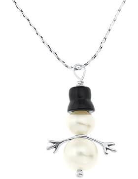 Ornami Halskette mit Perlenanhänger Schneemann, Sterlingsilber/ Onyx, 46 cm