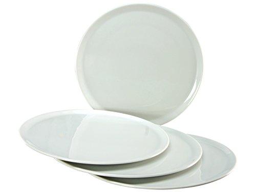 Creatable, 17869, Serie Europa Weiss, 33cm, 4 teilig Pizzateller, Porzellan, 34.5 x 34.5 x 8 cm, 4-Einheiten