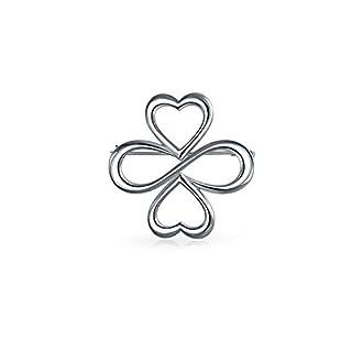 Brosche AYLLU Symbole Gro� Anstecknadel aus 925er Sterling Silber Herz Unendlichkeit Kleeblatt Anstecker Pin