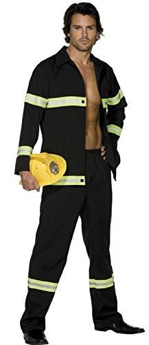 Erwachsene Herren Sexy Feuerwehrmann Uniform Emergency Service Fever Kostüm Kleid Outfit - Schwarz, Large / 42