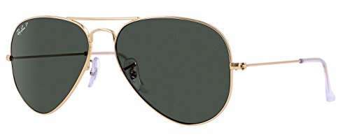 Ray-Ban Gold Arista Aviator Sunglasses With Green G15 Polarised Lens (55mm)