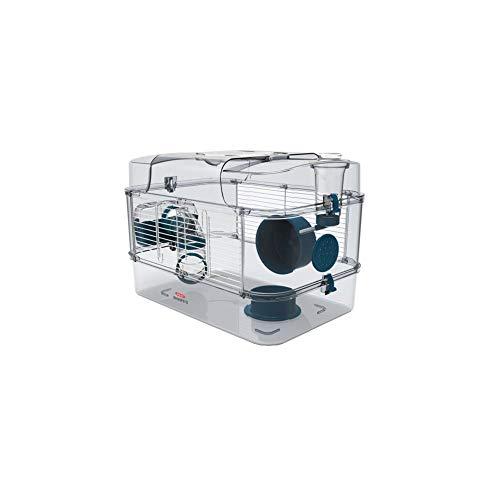 Gabbia Habitat per Criceto MOD. RODY 3 Solo Colore Blu Completa di Accessori Mis. 41x27x28h con Tubi e Giochi