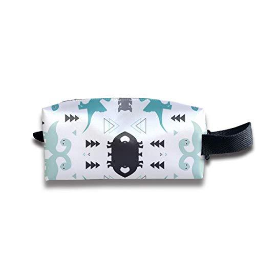 Funny Dinosaur Set White Storage Bag Women Cosmetic Train Case Holder - Multi-Purpose Handbag Pens Pencil Case, Carrying Case for Makeup Brushes, Pen, Eyeliner, Travel, Cash Plum Handy