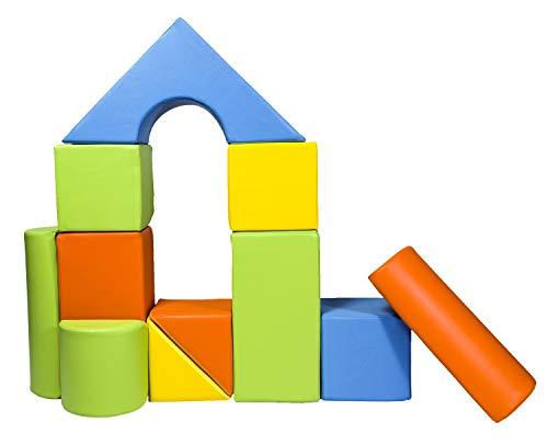 Velinda 11 Großbausteine Schaumstoffbausteine Bauklötze Riesenbausteine Schloss-Set (Farbe: gelb,grün,orange,hellblau)