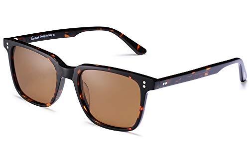 Carfia Retro Herren Sonnenbrille Outdoor Polarisierte Sonnenbrille für Fahren Golf Freizeit, 100% UV 400 Schutz (Rechteckig - Rahmen: Schildpatt; Linsen: Braun)