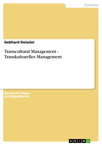 Transcultural Management - Transkulturelles Management (English Edition) por Gebhard Deissler