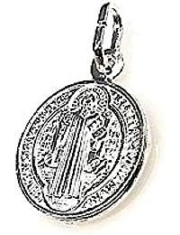 Medalla plata ley 925m San Benito 15mm. doble cara redonda [AB1941]