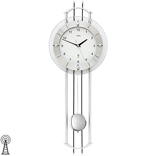 AMS 5248 Wanduhr Funk Funkwanduhr mit Pendel Silbern Modern Pendeluhr mit Glas