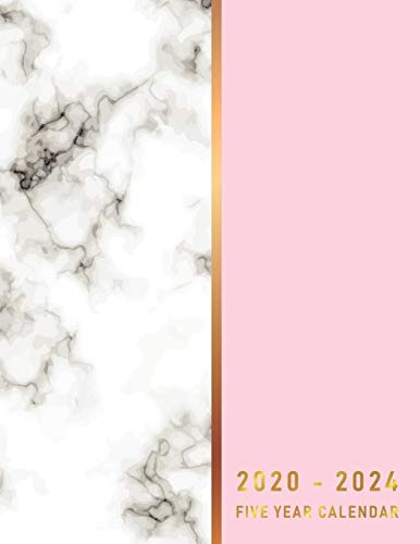 2020-2024 Five Year Calendar: Pink Gold Marble about calendar of 60 Month and appointment 5 year for schedule organizer management (5 Year Calendar 2020-2024)