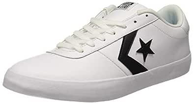 Converse Unisex's White/Black Leather Sneakers-7 UK/India (40 EU) (8907788079179)