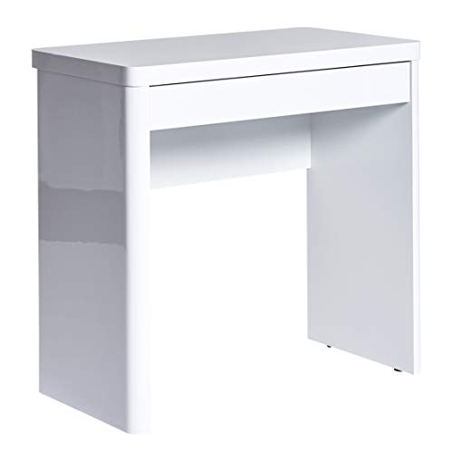 Marca Amazon - Movian Mjøsa - Escritorio compacto con 1 cajón, 79 x 44 x 76 cm, lacado blanco brillante