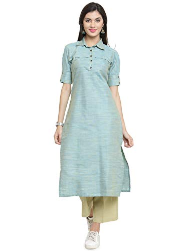 indibelle Turquoise Cotton Straight Cut Formal Kurta With Ankle Length Trouser