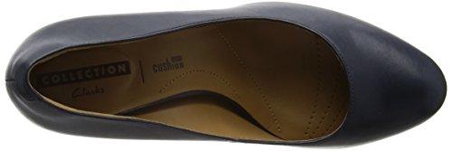 Clarks Arista Abe, Chaussures à Talons - Avant du Pieds Couvert Femmes Bleu (Navy Leather)