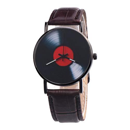 Yvelands Fashion Casual Unisex Retro Design Band Analog Alloy Quartz Watch Luxus Leder Armbanduhren(Braun,Free)
