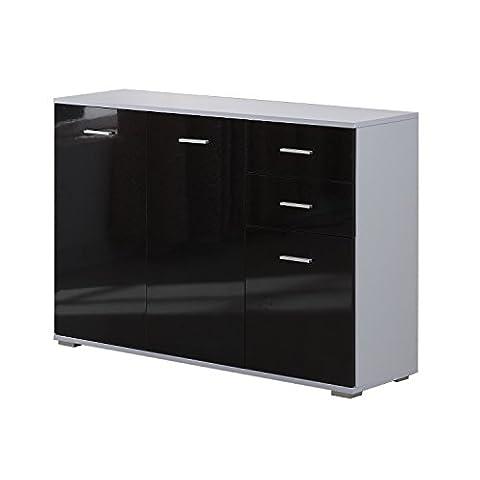 Armoire de rangement commode chambre/salon avec 2 tiroirs +2 coffrets latérals MDF 106x76x35cm noir neuf 70