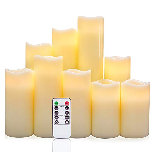 """Eldnacele Flickering Flammenlose Kerzen Säule LED-Kerzen mit Fernbedienung Timer Set von 9 (H 4""""5"""" 6""""7"""" 8""""9"""" x D 2,2"""") Echtwachs Batterie betrieben Kerzen, Elfenbein"""