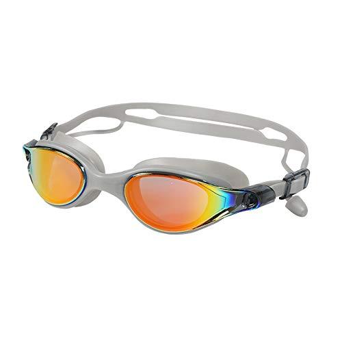 Schwimmbrille, Schwimmbrille mit Antibeschlag und UV Schutz, Erwachsene Männer und Frauen Brille Galvanik wasserdichte Anti-Fog-Brille Silikon-Ohr-köpfigen Band Schwimmen, grau