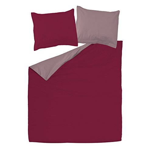 SoulBedroom Bordeaux Rouge & Rose Cendré 100% Coton Parure de lit Réversible (Housse de Couette 200x200 cm & 2 Taies d'oreiller 65x65 cm)