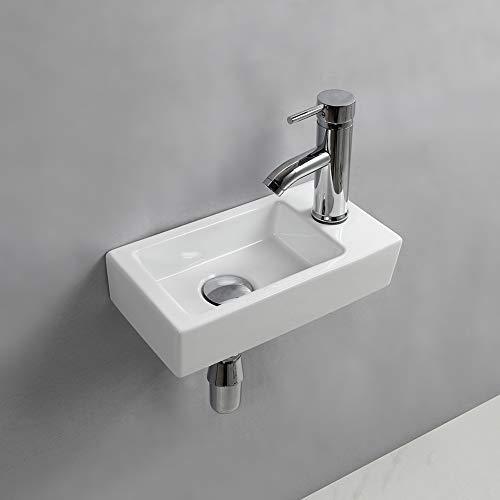 Lavabo da parete rettangolare in ceramica con lavabo a destra