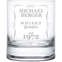 AMAVEL Whiskyglas mit Gravur – Klassisch – Personalisiert mit [Name] und [Jahreszahl] – Tumbler Whiskeyglas – Vatertag – Geschenke für Männer zum Geburtstag – Füllmenge: 320 ml