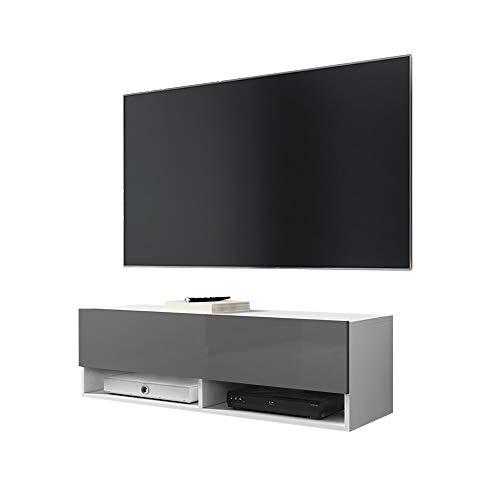 Selsey WANDER - TV-Lowboard / TV-Schrank in Weiß Matt/Grau Hochglanz hängend, 100cm