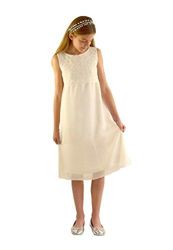 pitze-Kommunionkleid Lena Mädchen Kleid Naturprodukt färbbar, Ivory, 140/146 ()