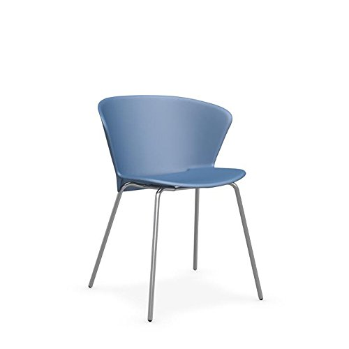 Calligaris Bahia Outdoor-Stuhl, in Metall Satin Stahl Gestell & Kunststoff (PP) matt Sky Blau Sitz -