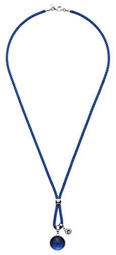 JEWELS BY LEONARDO Damen-Ketten mit Anhänger Asolo Edelstahl Glas Textilkordel blau klar silber 80 cm Karabiner 016473