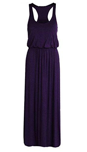 Ladies Toga Maxi Vest Dress Womens Puff Ball Racer Back Maxi Plus Size 8-26 Viola
