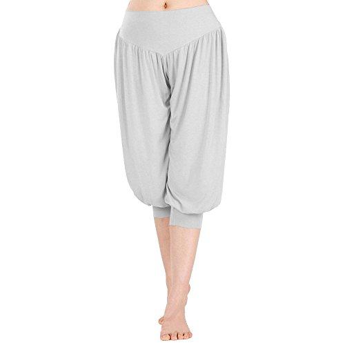 Minetom Donne Yoga Pantaloni stile harem Aladdin larga fascia elastica in vita Pantaloni sportivi ( Nero 1 ) Grigio chiaro 2
