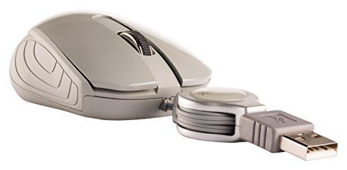Eurosell Mini USB Maus - Kabel Aufroller einziehbar aufrollbar - Laptop Computer Notebook Pc - Optisch (Grau)