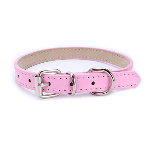 PENVEAT PU Leather Solid Soft Colorful Pet Dog Collar for Small Medium Large Dogs Neck Strap Adjustable Safe Puppy Kitten Cats Collar,pink,1.0cm x 25cm - Leder-rolled Strap