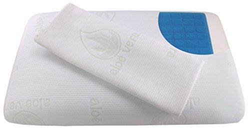 Cuscino in Memory foam 60 x 40 x 12 cm con Gel Rinfrescante ortopedico con 2 Aloe Vera fodera sfoderabile e lavabile Antiacaro anallergico antibatterico