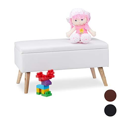 Relaxdays Sitzbank mit Stauraum, 40 L, gepolstert, Holzbeine, Truhenbank Kunstleder, HxBxT: 40 x 80 x 39,5 cm, weiß -