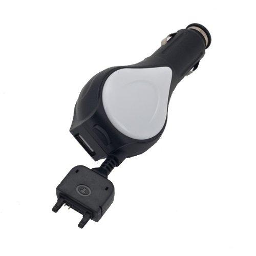 NFE Kfz Ladekabel 12V - 24V mit Aufrollmechanismus und integrierter USB Ladebuchse speziell abgestimmt für Sony Ericsson W580i (W580i-usb)