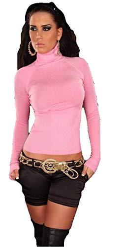 In Style - Pull femme à manches longues avec col roulé,Rose,S/M