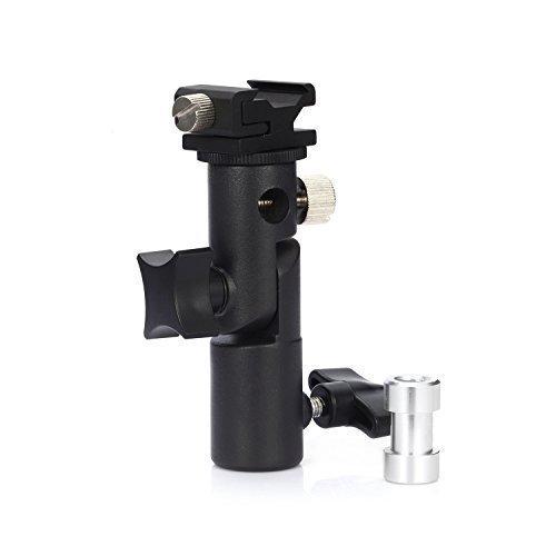 Fafada Blitzneiger Blitzhalter E-Form Reflexschirmhalter für Kamerablitz Universal-Blitzschuh Aluminium mit herausnehmbaren 1/4 und 3/8 Zoll Spigot